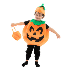 Pumpkin Costume with a Pumpkin Basket and a Hat - Child