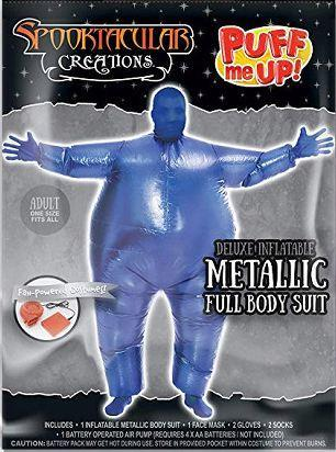 Inflatable Costume Full Body Suit Halloween Costume Metallic Shiny Adult Size