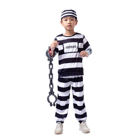 Prisoner Jail Halloween Costume with Tattoo Sleeve and Toy Handcuffs for Kids