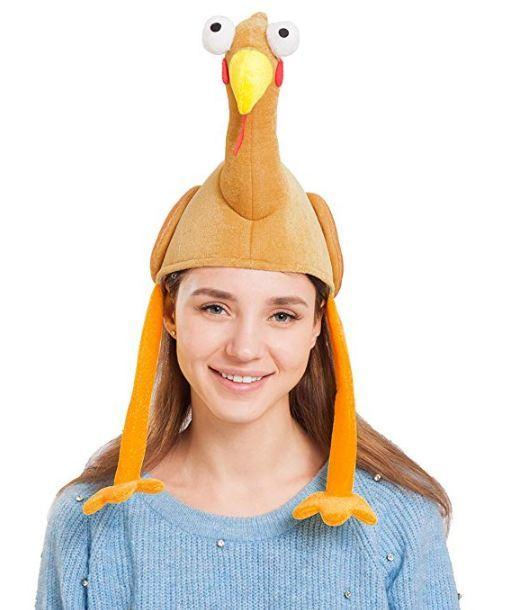Plush Turkey Gobbler Hat with Long Neck