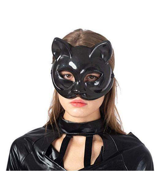 Classic Halloween Cat Costume with Kitty Mask and Belt - Women