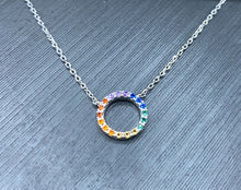 Load image into Gallery viewer, Rainbow Circle Pendant Necklace