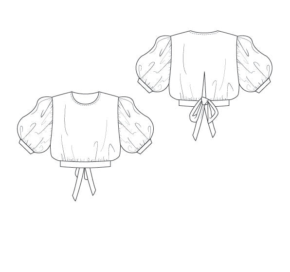 puff sleeve crop - pattern