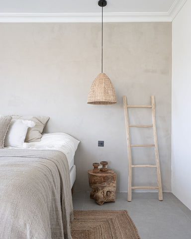 Wooden ladders are perfect to hang clothes or towels