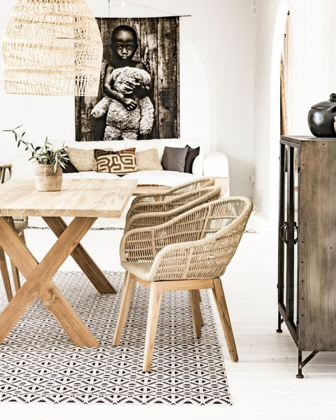 Zoco Home organic chair made of synthetic rattan and teak wood
