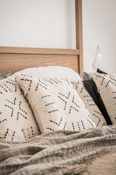 Linen handmade pillows add boho vibe to your bedroom
