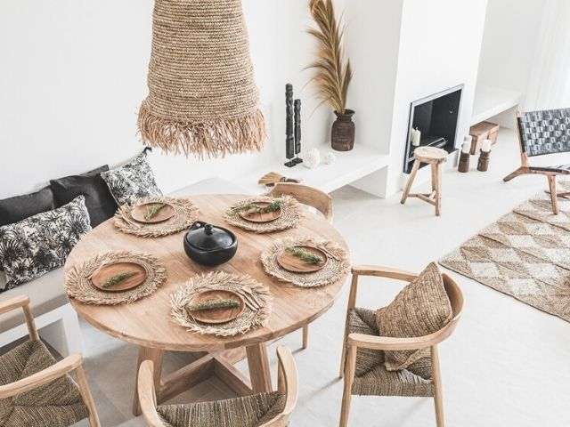 Beach house interior design in Marbella with Scandinavian Boho decor