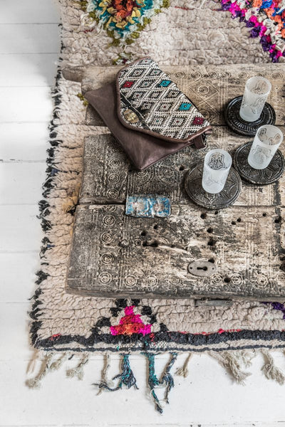 Moroccan colourful handmade Boucherouite rug