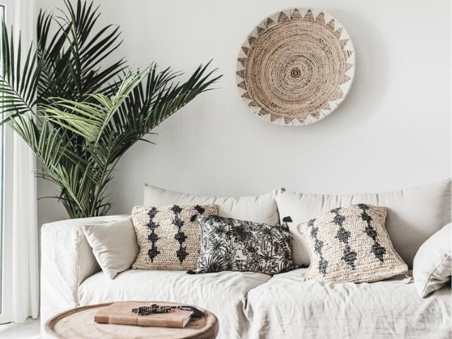 Beach house decoration with ethnic design and boho style ibiza  linen sofa