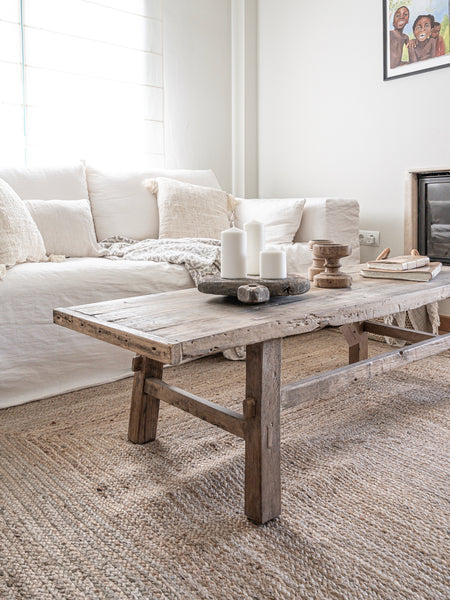Home decor trends 2020 linen sofa and jute rug