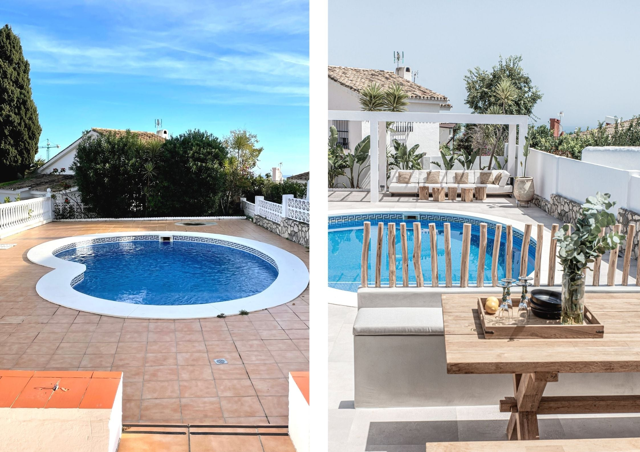 before and after pool area