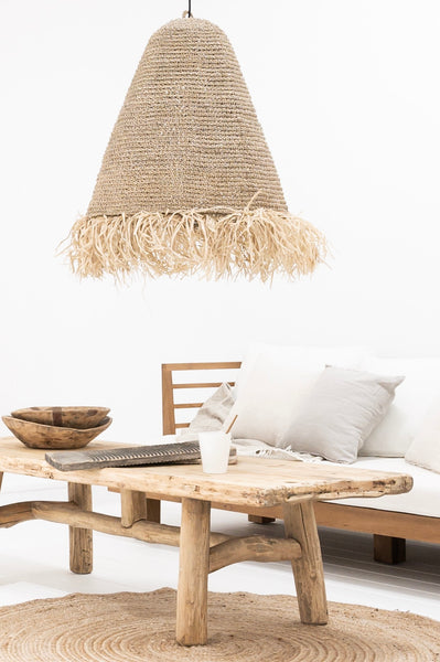 Boho style raffia lamp to balcony or terrace
