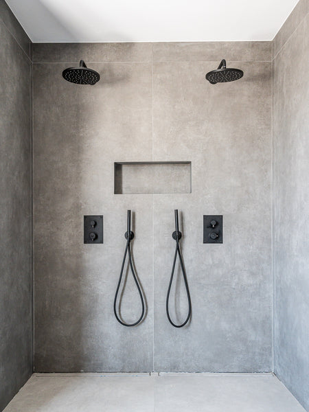 Cement grey bathroom walls