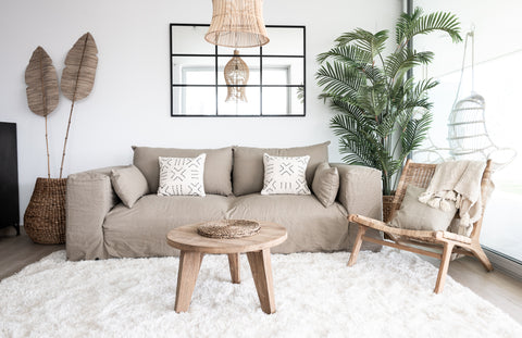 Scandinavian Boho decor with Linen sofa
