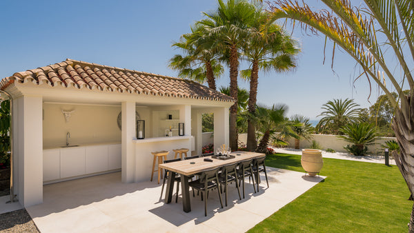 Outside Pool House Interior Design in Marbella