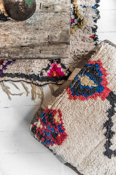 Boucherouite rug is made from recycled fabrics