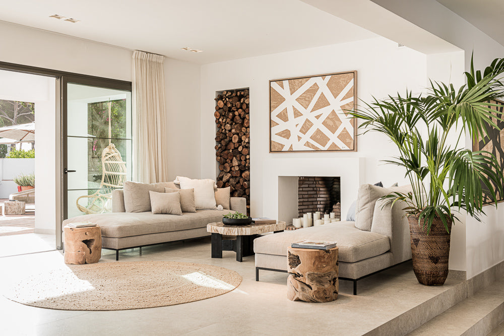 Natural scandinavian Boho style living room in Marbella
