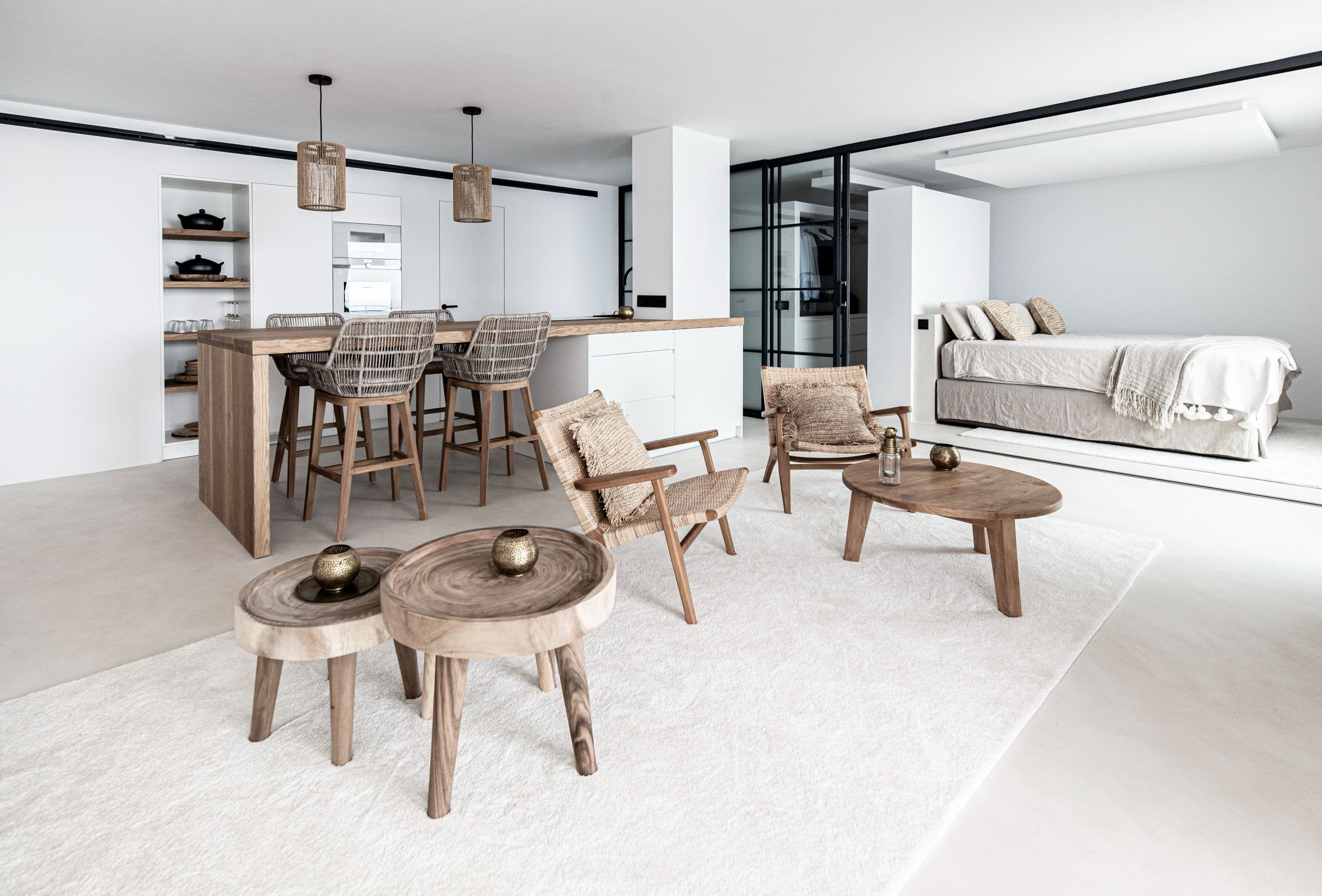 Zoco Home Natural Materials, living room and kitchen