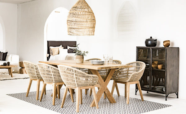 Wooden rectangular table with natural organic chairs
