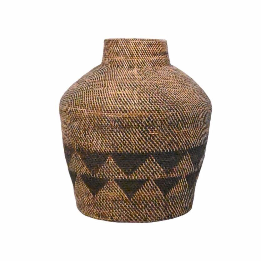 Black Patterned Tribal Basket  | 50cm