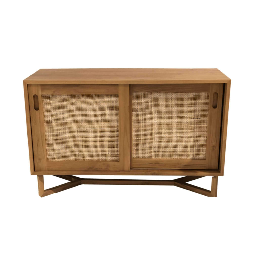 Teak TV Stand Slide Door | 110x40x70cm