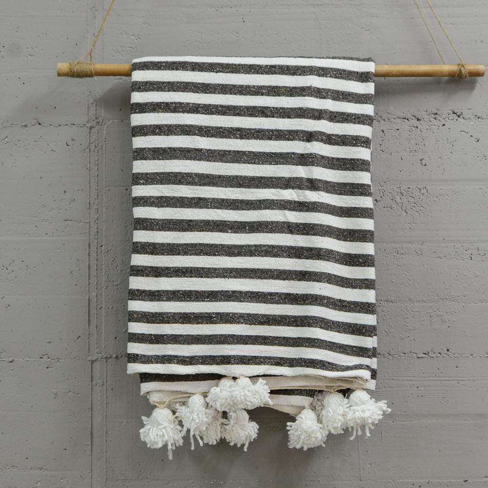 PomPom blanket | Grey & white - Zoco Home