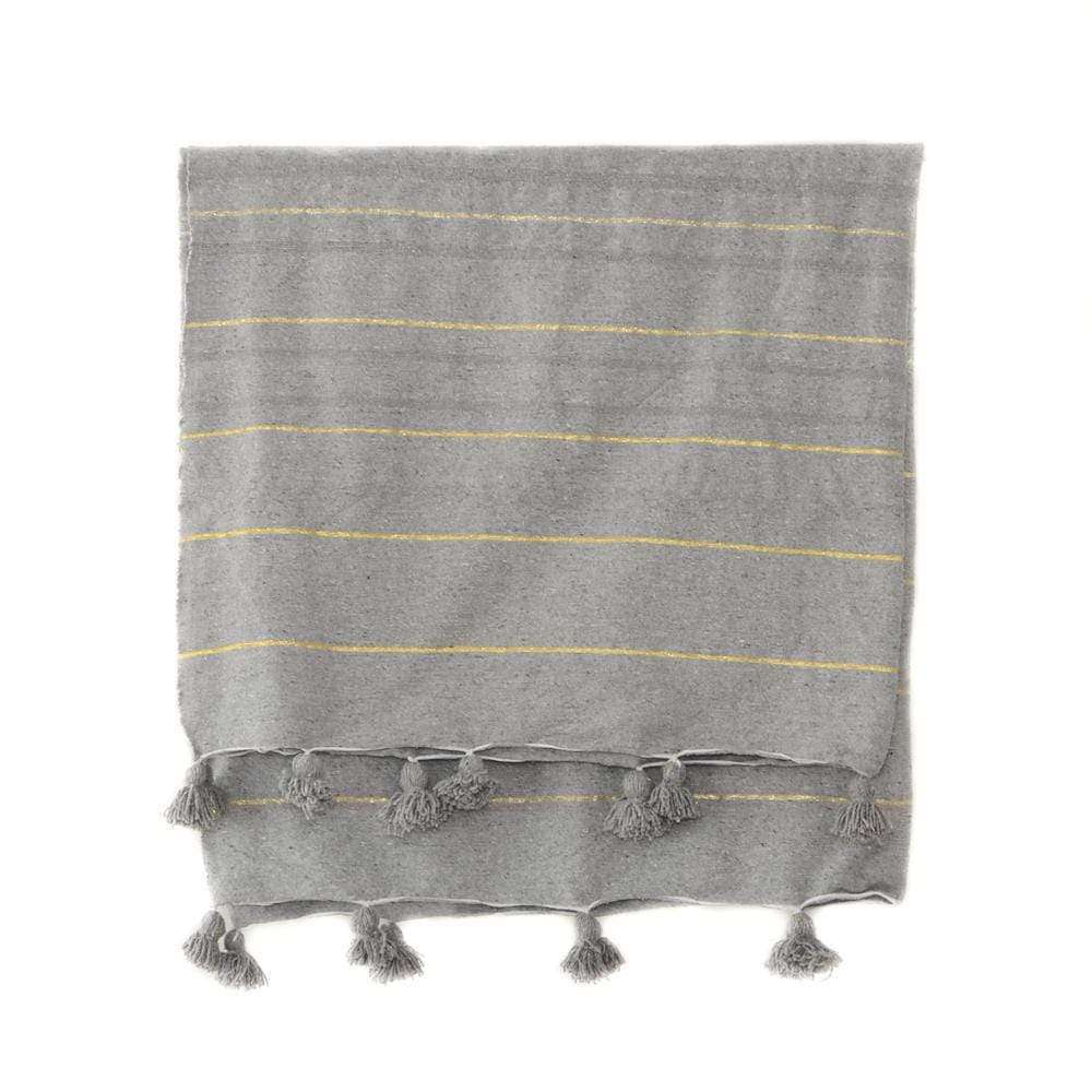 PomPom blanket | Grey with golden stripes