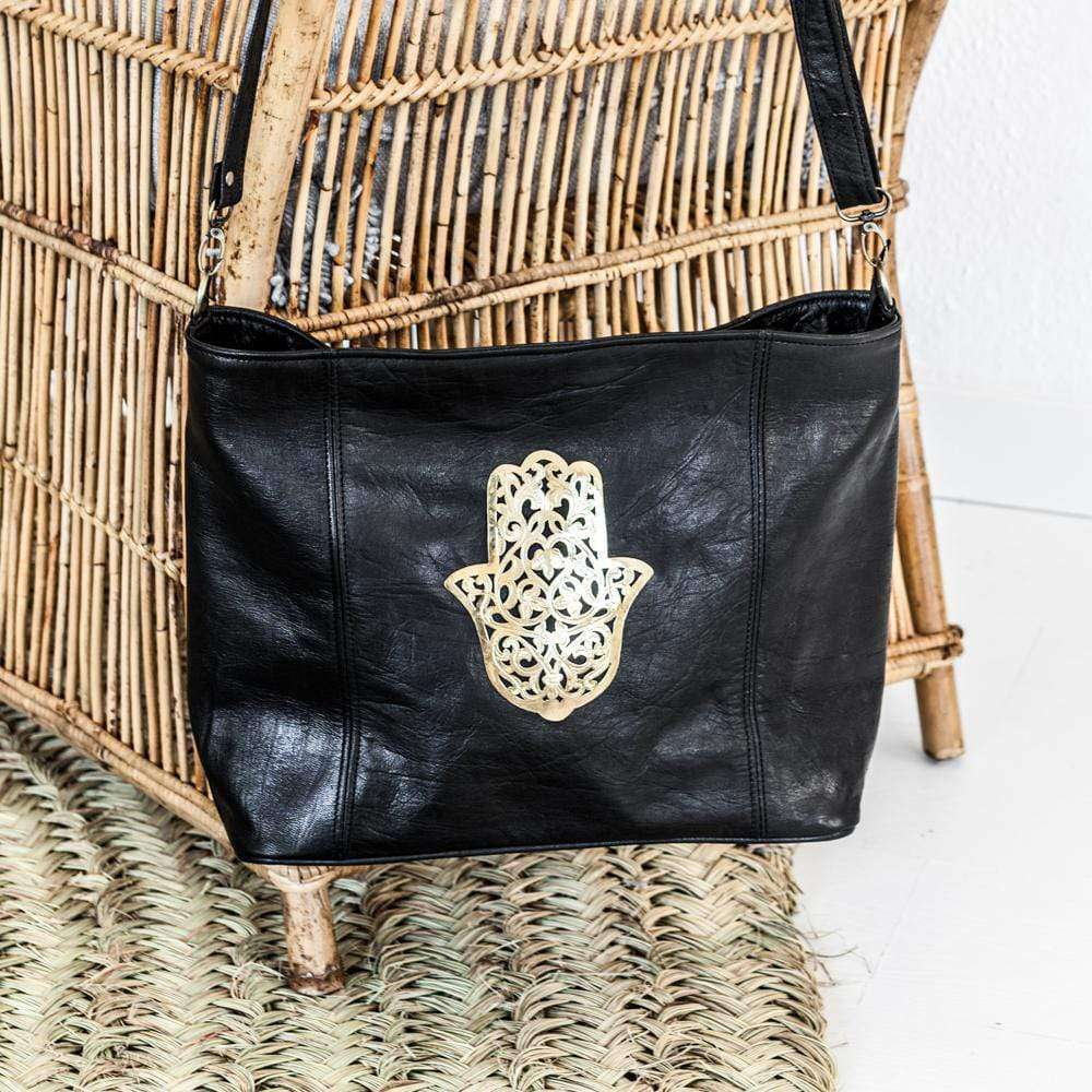 Black leather Tote bag with gold Fatima