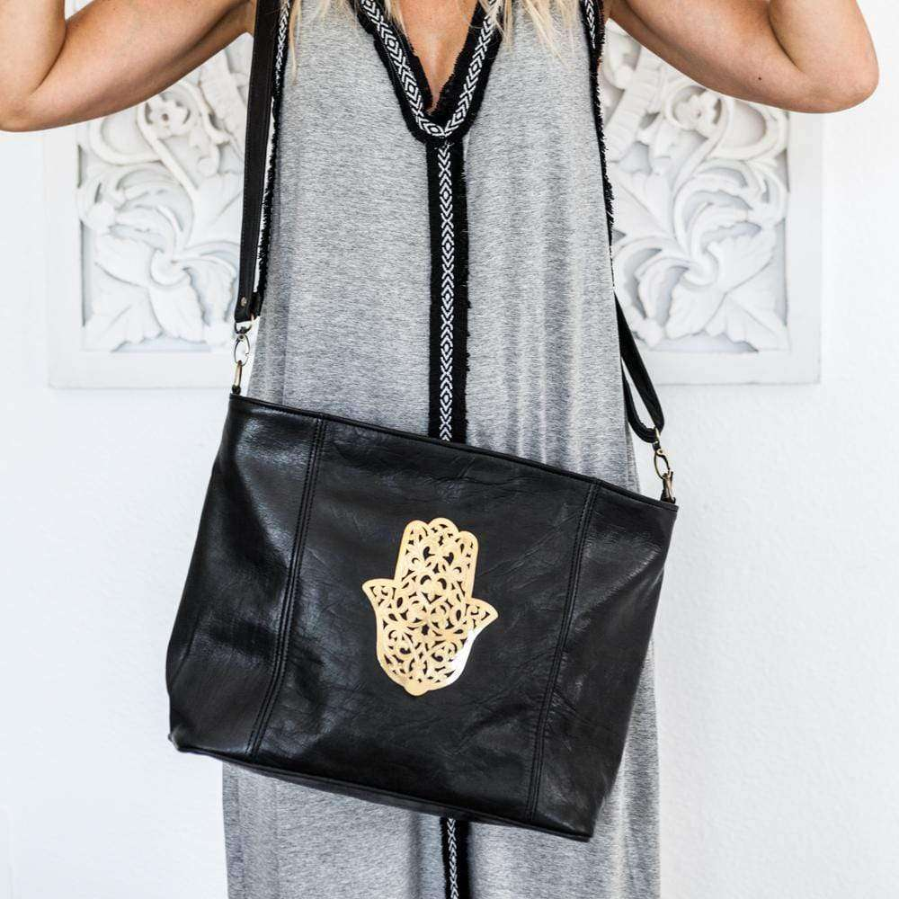 Black leather Tote bag with gold Fatima - Zoco Home