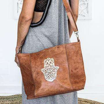 Cognac leather Tote bag with silver Fatima symbol - Zoco Home