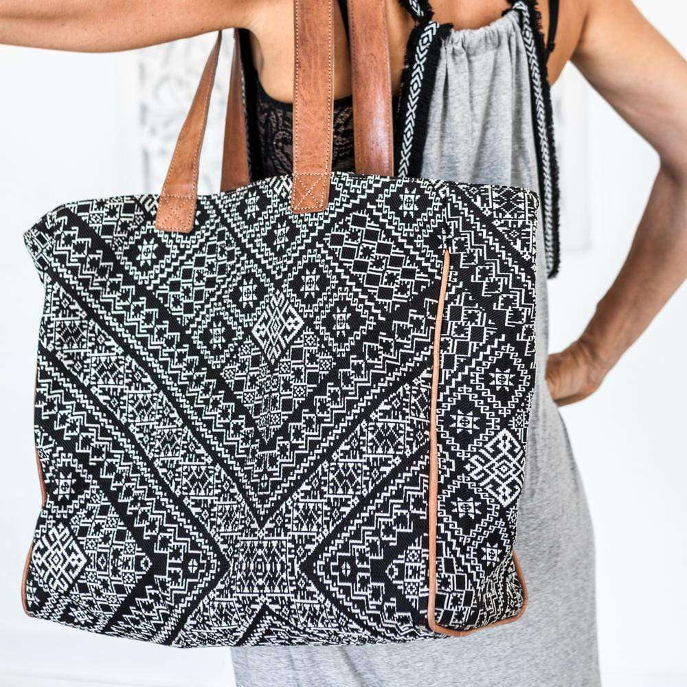 Ethnic Tote bag with leather straps