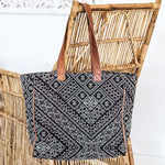 Ethnic Tote bag with leather straps - Zoco Home