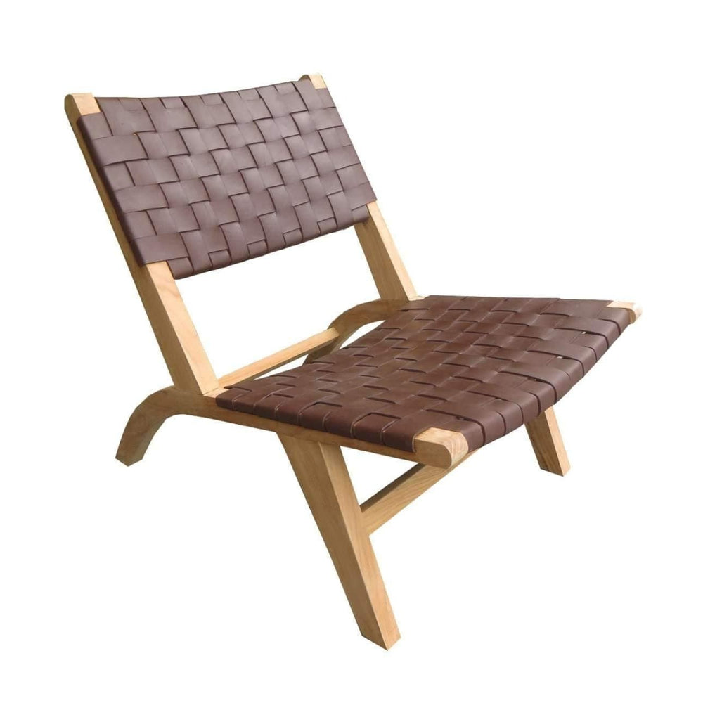 Leather belt lounge chair | Brown