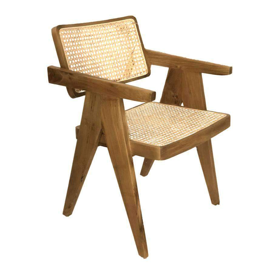 Zoco Home Furniture Teak Cane Chair | Natural