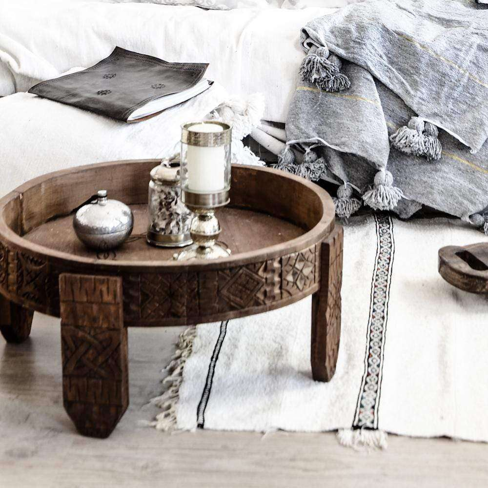 Moroccan hand carved Chakki table | Brown - Zoco Home