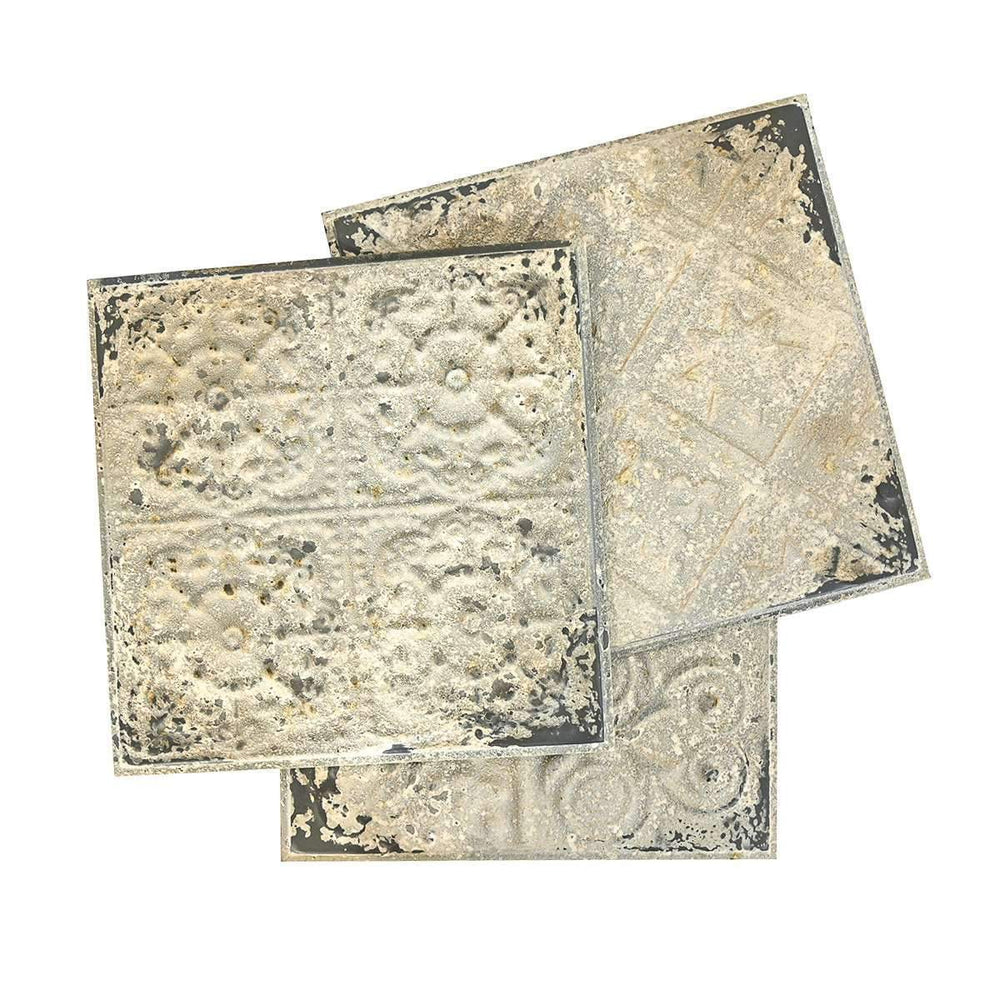 Zoco Home Home accessories Tin panel Tiles | Rustic White 61cm