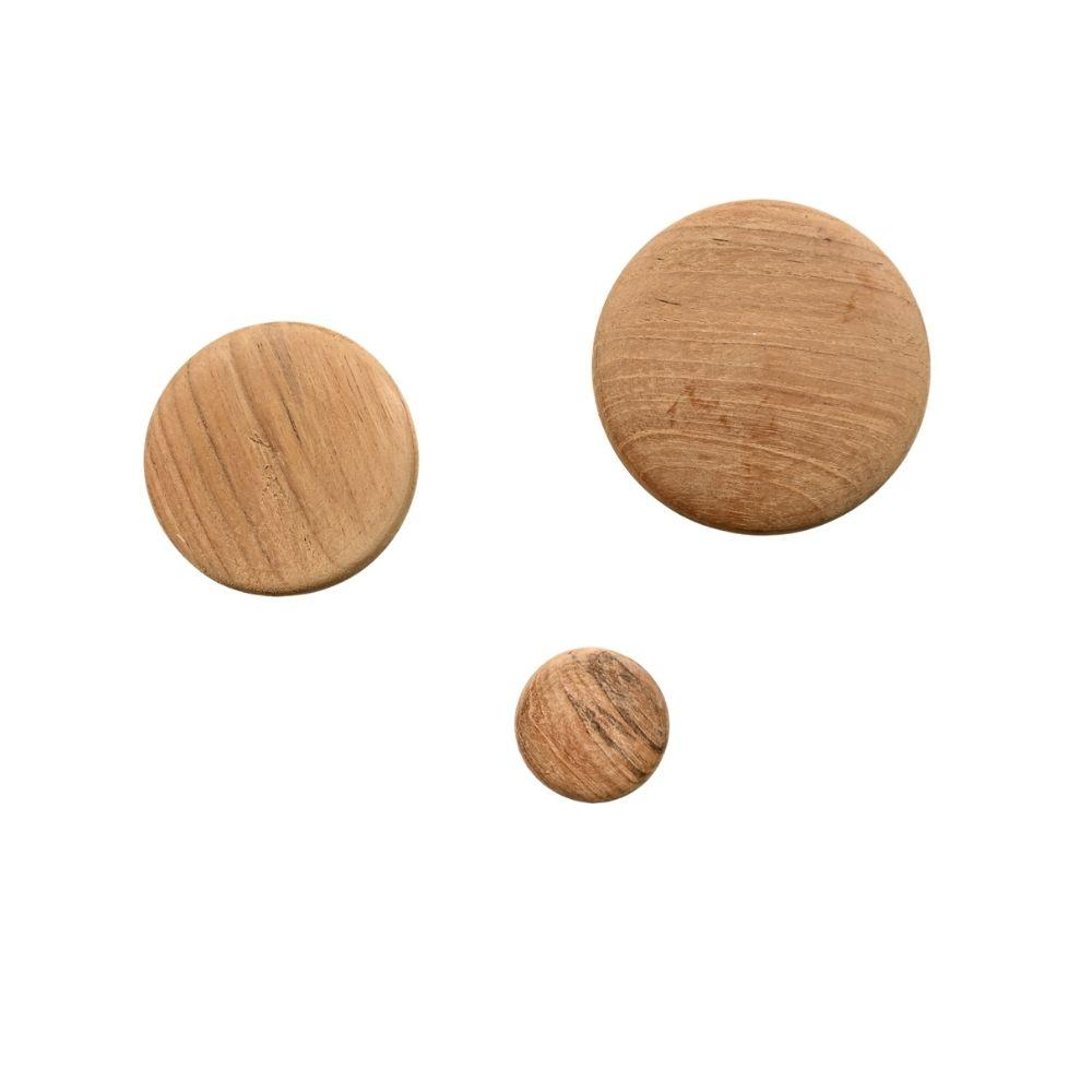 Wood Button Wall Hanger | set of 3