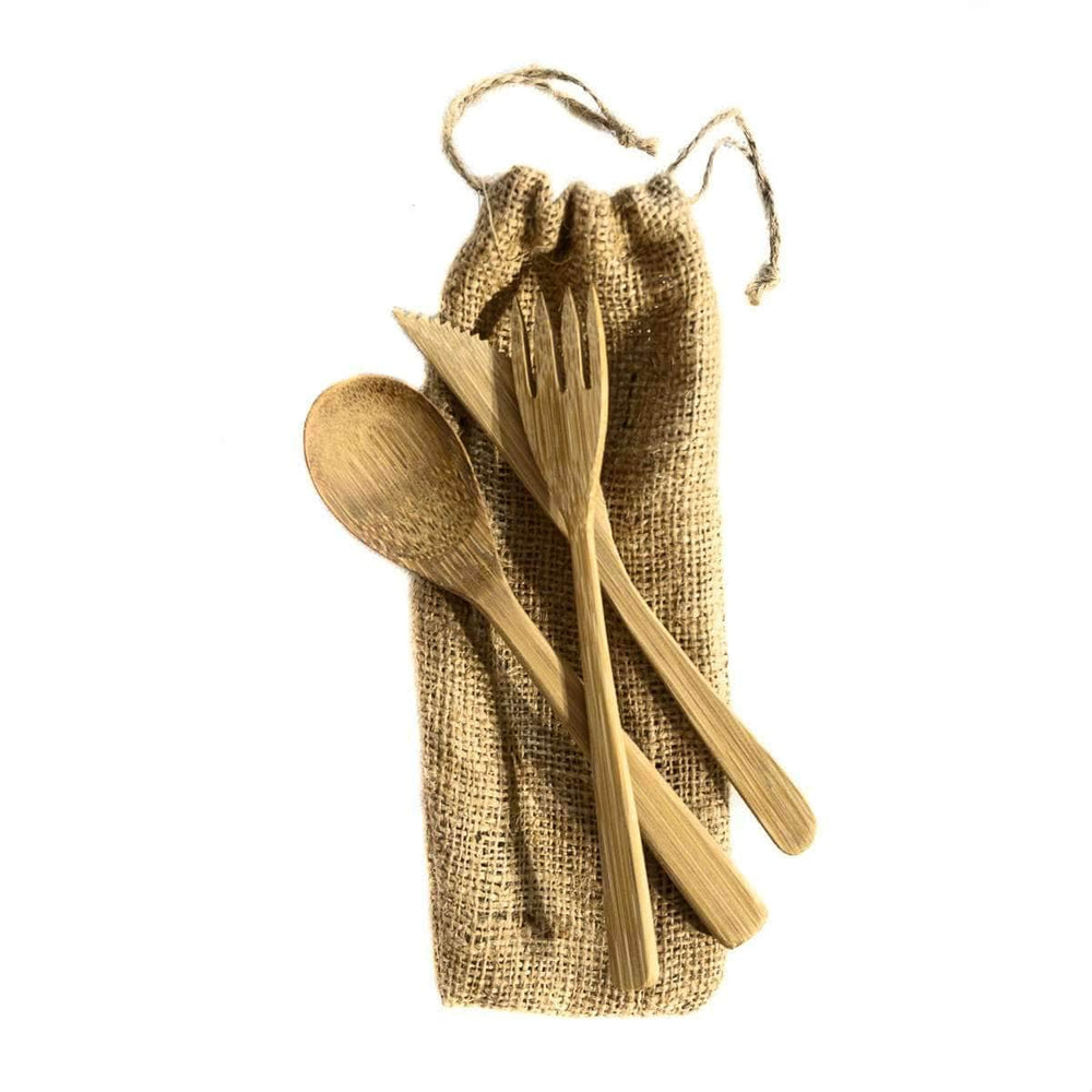 Bamboo Cutlery set with jute bag