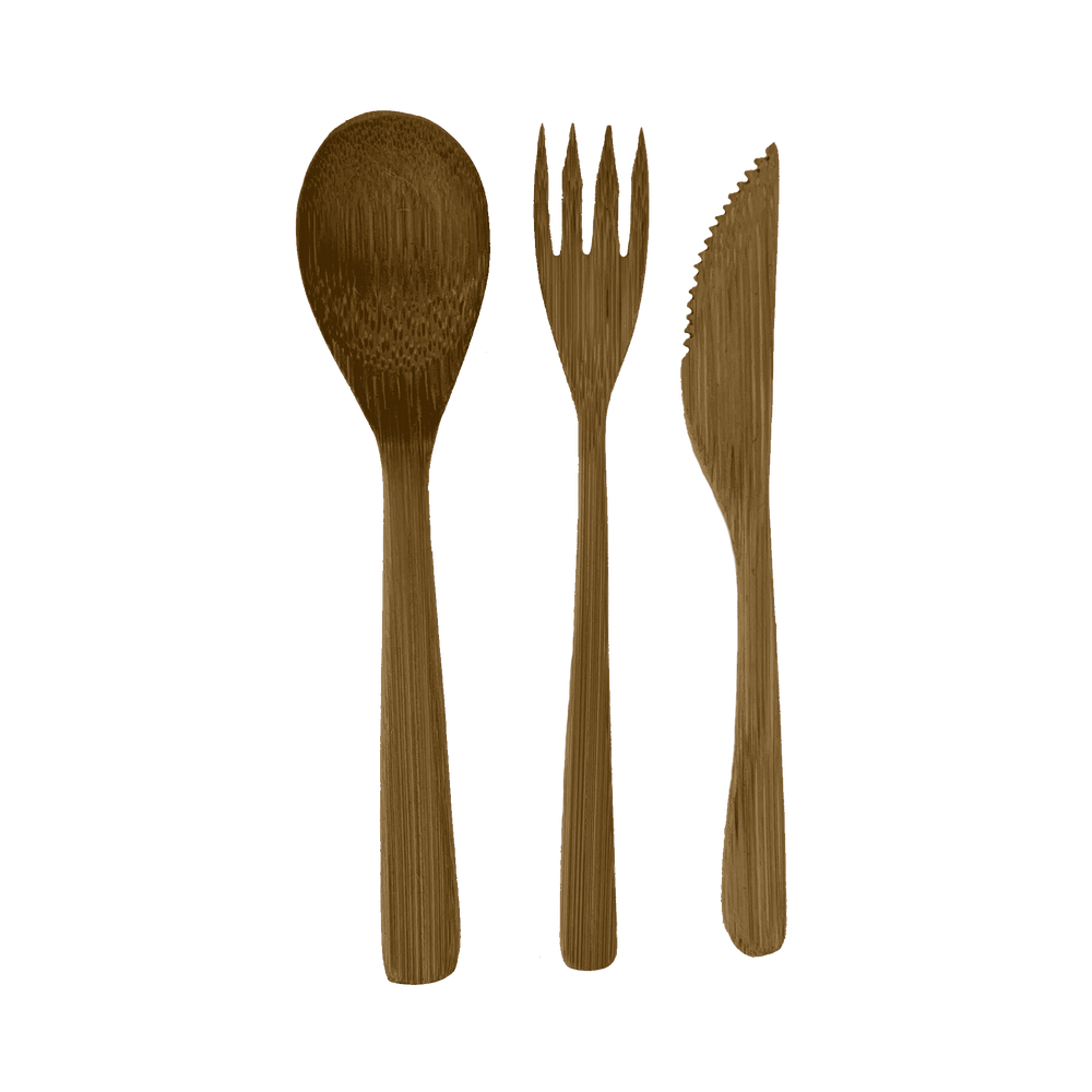 Bamboo Cutlery set with jute bag - Zoco Home