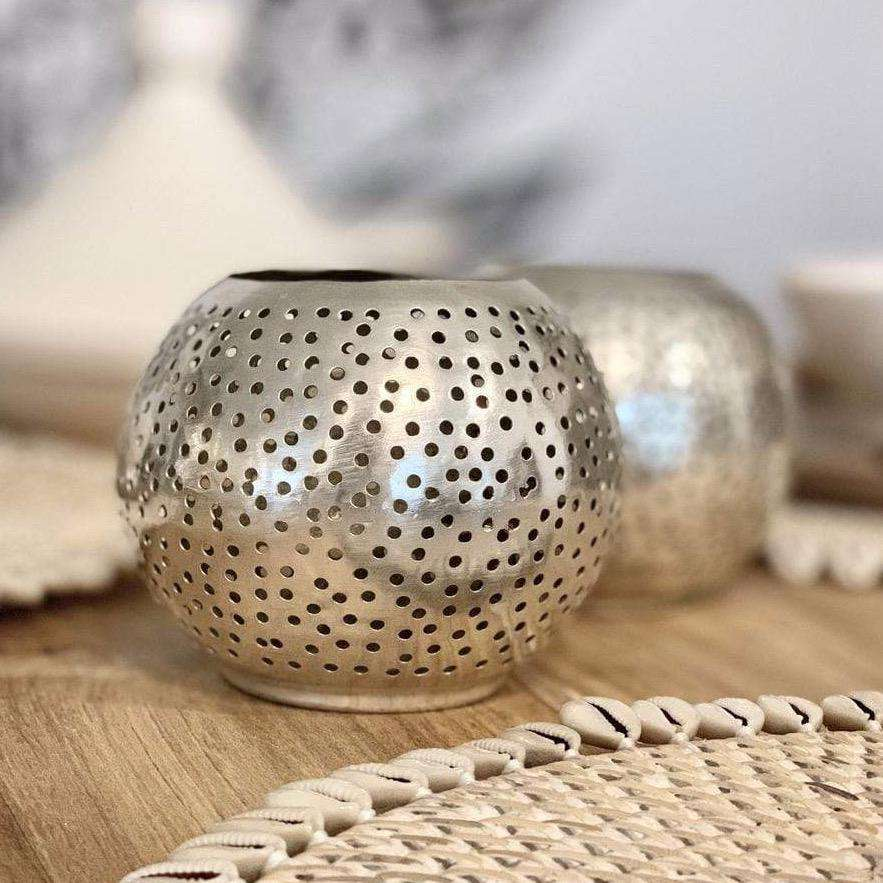 Round Tea Light Holder | Silver