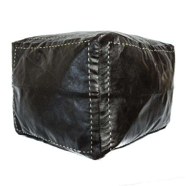 Leather Square Pouf Black