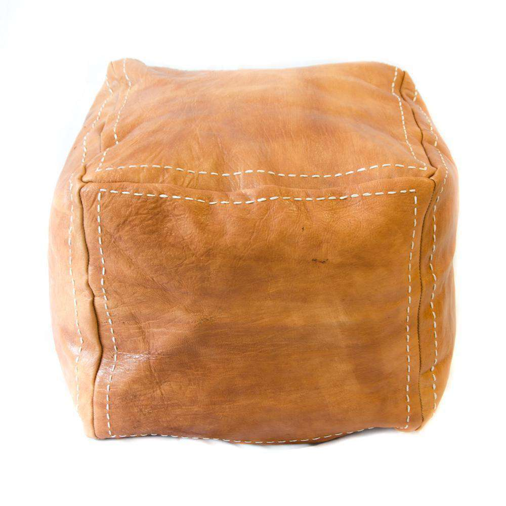 Leather Square Pouf Cognac