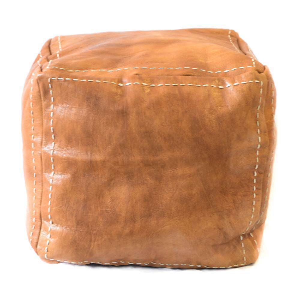 Leather Square Pouf Cognac - Zoco Home