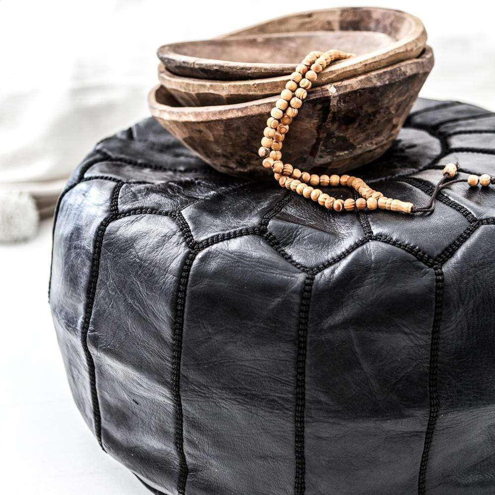 Moroccan Leather Pouf | Black