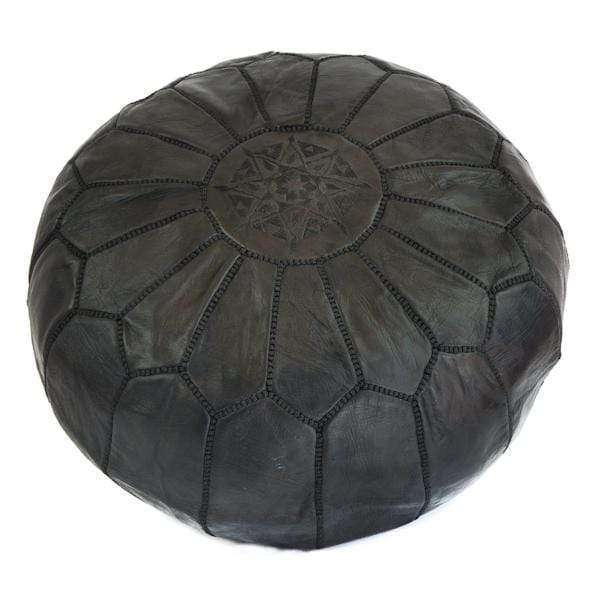 Moroccan Leather Pouf | Black - Zoco Home