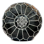 Moroccan Leather Pouf | Black & White