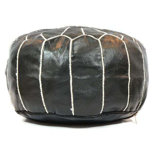 Moroccan Leather Pouf | Black & White - Zoco Home