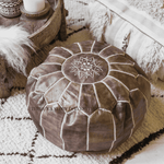 Moroccan Leather Pouf | Brown