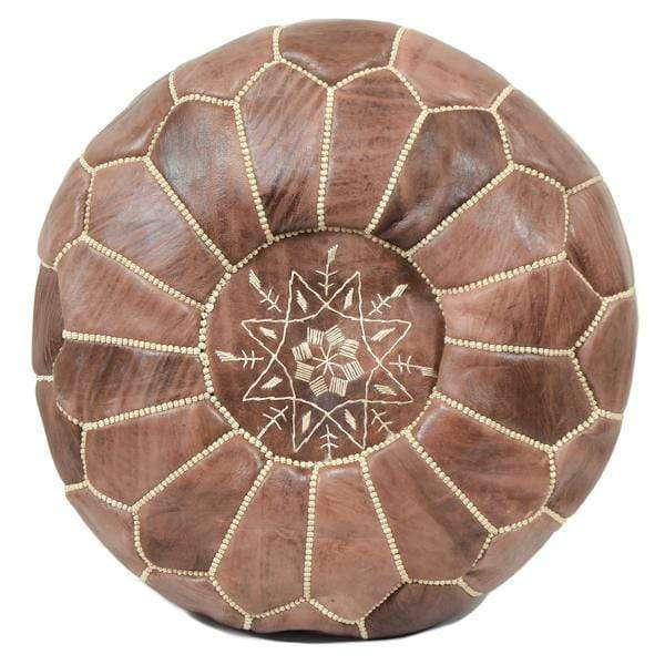 Moroccan Leather Pouf | Brown - Zoco Home
