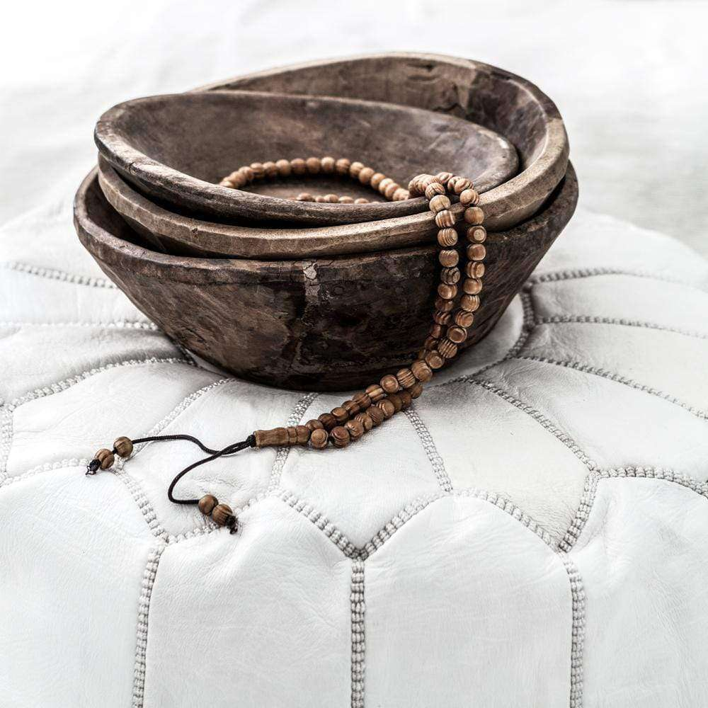 Moroccan Leather Pouf | White